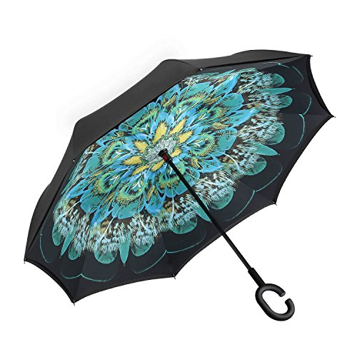 Amagoing Car Inverted Umbrella Double Layer Windproof Reverse Umbrella for Rain Sun