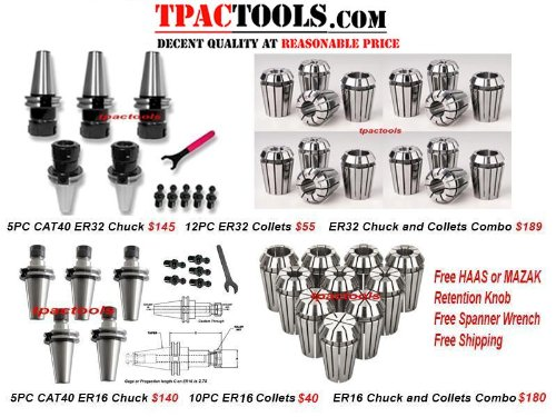 5PC BT40 ER32 PRECISION COLLET CHUCK NEW TENTH ACCURACY