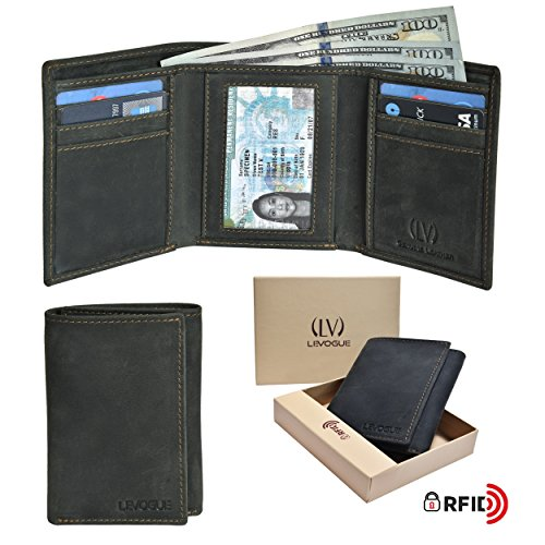 Genuine COW OILY HUNTER Leather Handmade Mens RFID Blocking Slim Trifold Wallet with 6 Credit Card + 1 ID Window + 2 Note Compartments Wallet Made from 100% Full Grain Cow Leather by LEVOGUE ()