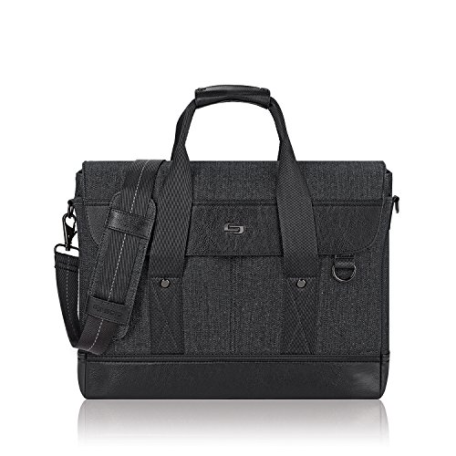 Solo Sullivan 15.6 Inch Hybrid Laptop Briefcase Messenger, Black
