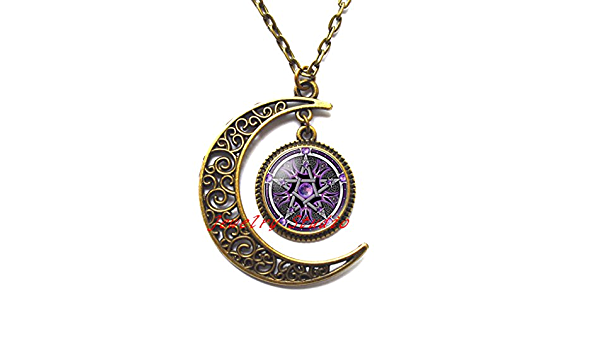 Warning Symbol Yellow Black Slippy Floor Triangle Necklaces Pendant Retro Moon Stars Jewelry