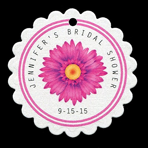 Bridal Shower Favor Tags with Pink Daisy, Personalized (set of 25) Gerbera Favors