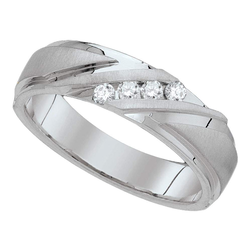 Jewel Tie - Size 10 - Solid 10k White Gold Men's Round Channel-set Diamond Wedding Anniversary Band Ring (1/4 Cttw.) by Jewel Tie