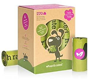 Earth Rated 270-Count Dog Waste Bags, Lavender-Scented Poop Bags, 18 Refill Rolls