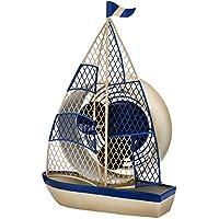 DecoBREEZE Table Fan Single-Speed Electric Circulating Fan, Sailboat Figurine Fan