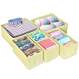 iSPECLE Foldable Storage Bins, Cube Storage Bin Cloth Closet Underwear Organizer Drawer Divider for Underwear, Bras, Socks, Ties, Scarves, Skin Care Products, Set of 6 - Beige