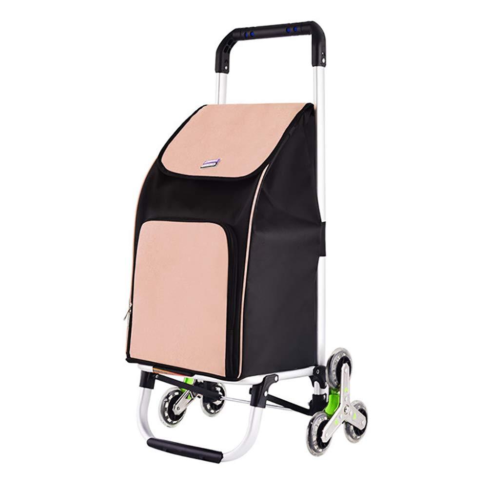 折り畳み式ショッピングカート、防水性オックスフォード布押しショッピングカートポータブル荷物用カート階段を登るショッピングカート (色 : ベージュ) B07H6HPJYL ベージュ