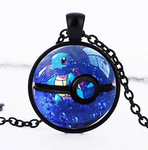 [JewelryX - Black Pokemon Go Ball Pokeball Cabochon Glass Charm Pendant Chain Necklace Fashion Women Men] (Pokemon X And Y Ash Costume)