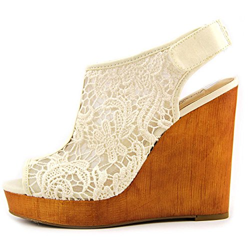 chic Lucky Brand Rezdah2 Women Open Toe Canvas Tan Wedge Heel