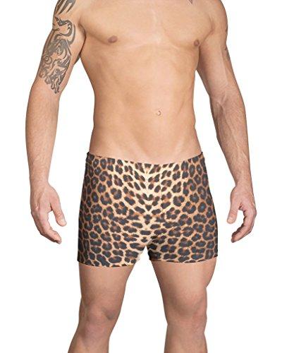 Vuthy Sim Men's Leopard Print Swim Boxer L Brown, (Leopard Print Swim Trunks)