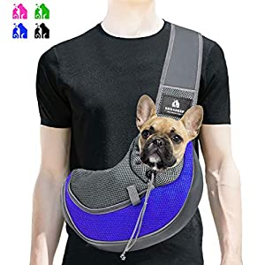 BREADEEP Pet Sling Carrier, Small Dog Cat Sling Bag for Travel, Hands Free Front Pack Chest Carrier with Breathable Mesh Pouch