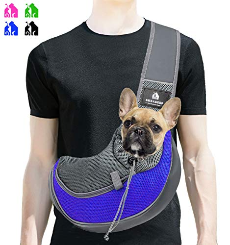 BREADEEP Pet Sling Carrier, Small Dog Cat Sling Bag for Travel, Hands Free Front Pack Chest Carrier with Breathable Mesh Pouch, Blue in S