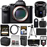 Sony Alpha A7S II 4K Wi-Fi Digital Camera Body with T FE 55mm f/1.8 Lens + 64GB Card + Case + Flash + Battery & Charger + Tripod Kit