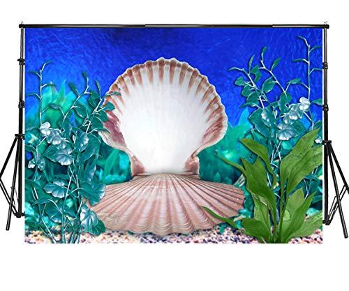 Sensfun 10x6.5ft Under The Sea Photobooth Backdrop Mermaid Theme Underwater Sea Grass Giant Seashell Photography Background for Girls Princess Sweet 16 Birthday Party YouTube Photo Studio Props(WP146)]()