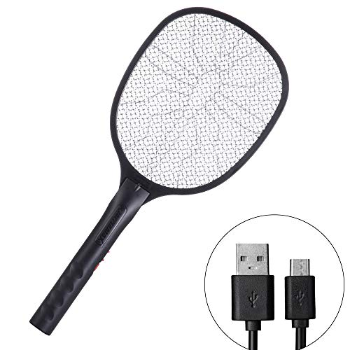 DAEN Electronic Bug Zapper - Mosquito Racket, Fly Swatter, Hornets Killer - USB Charging - 3400 Volt - Blue Mosquito Attractant LED Light