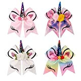 7 Inch Unicorn Cheerleader Hair Bow - Subesty Girls Boutique Hair Bow With Ponytail Holder For Cheerleading Girls Pack Of 4
