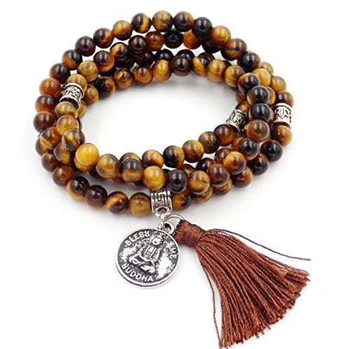 Mala Beads Bracelet, Buddhist Mala Prayer Beads, Buddha Bless Me Statement Necklace (Tiger Eyes) (Tibetan Buddhist Beads Prayer)
