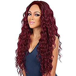 ForQueens Long Curly Wigs for Women Natural Hair Wigs Wavy Red Hair Wig Loose Deep Wave Synthetic Heat Resistant Fiber Full Wig