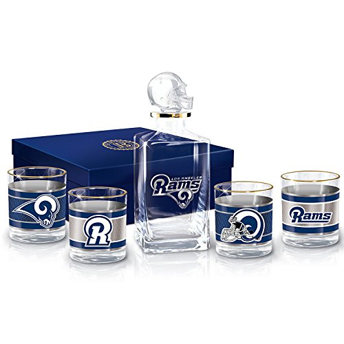Los Angeles Rams Decanter and Glasses Barware Gift Set by The Bradford (Ram Decanter)