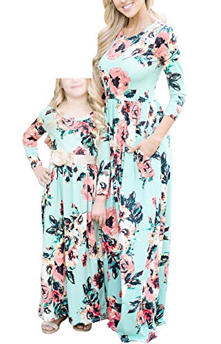 Qin.Orianna Mommy Me Maxi Dresses,3 4 Sleeve Bohemia Rose Floral Matching Outfits Pocket