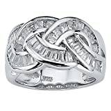 Baguette-Cut White Cubic Zirconia Platinum over .925 Sterling Silver Channel Crossover Ring