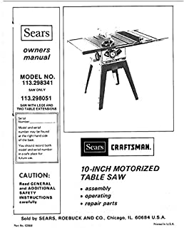 craftsman 113 298051 113 298341 table saw owners instruction manual rh amazon com sears craftsman 10 table saw instruction owners manual 12 Craftsman Table Saw Accessories