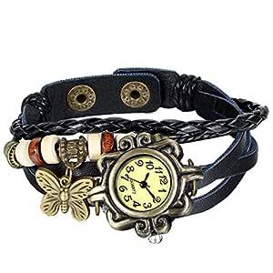JewelryWe New Women Wristwatch Butterfly Quartz Vintage Weave Wrap Leather Strap Girl Lady Bracelet Watch for Halloween