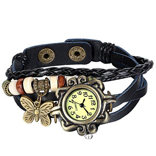Wrap New Leather (JewelryWe New Women Wristwatch Butterfly Quartz Vintage Weave Wrap Leather Strap Girl Lady Bracelet Watch)