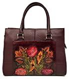 Mauzari Sayulita Designer Adelaide Vintage Floral Artisan Hand Chiseled Hand Painted Leather Handmade Top Handle Cross Body Handbag (Burgundy)