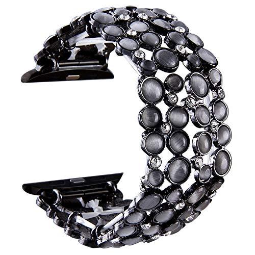 (VIQIV Bling Bands for Compatitle Apple Watch 38mm 40mm 42mm 44mm Iwatch Series 4 3 2 1, Dressy Diamond Rhinestone Bracelet Metal Jewelry Wristband Strap for Women)