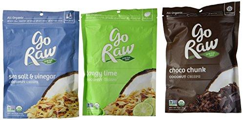 luten-Free Coconut Crisps 3 Flavor Variety Bundle: (1) Go Raw Organic Choco Chunk Coconut Crisps, (1) Go Raw Organic Tangy Lime Coconut Crisps, and (1) Go Raw Organic Sea Salt & Vinegar Coconut Crisps, 2 Oz. Ea. (3 Bags Total) (Go Chunk)
