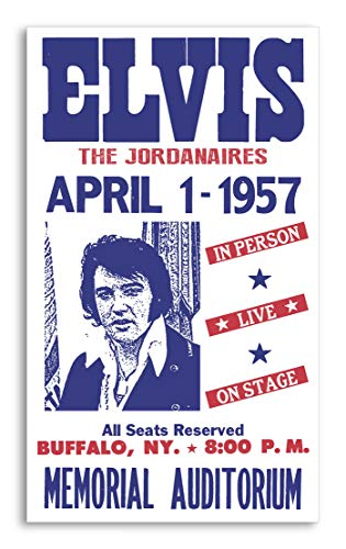"(Elvis Presley & The Jordanaires - Buffalo, New York 13""x22"" Vintage Style Showprint Poster - Concert Bill - Home Nostalgia Decor Wall Art Print)"