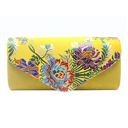 (Aimer Women Flower Embroidered Silklike Yolk Yellow Clutch Evening Bag Ethnic Party Handbag)