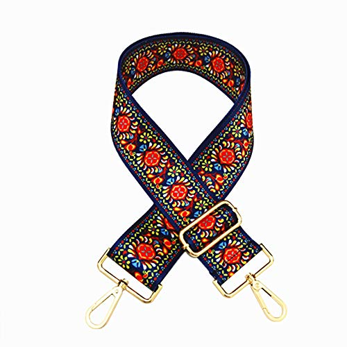 Selling Wonderful 2 Wide 28-50 Adjustable Length Handbag Purse Strap Guitar Style Multicolor Canvas Replacement Strap Crossbody Strap, With 2Pcs Gold Metal Buckles (Style9)