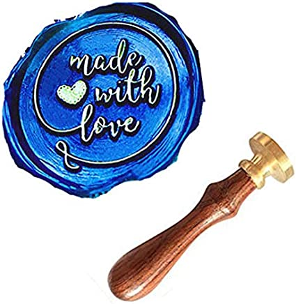 MNYR Made With Love Heart Monogram Wax Seal Sealing Stamp Kit Rosewood Handle Ideal for Mothers Fathers Day Valentine Decorating Gift Packing Envelope Parcel Card Letter Wedding Invitation Seal Stamp