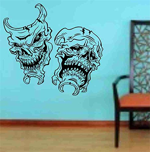 YINGKAI Happy Halloween Funny Skull Masks Smile Now Cry Later Living Room Vinyl Carving Wall Decal Sticker for Halloween Party Home Window Decoration]()