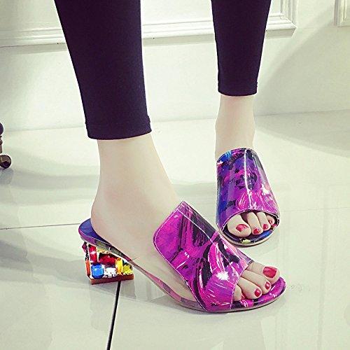 De De Avec Épais 37 New Grandes GUANG Et Taille Femmes Sandales Black Style De 38 Poisson De Femmes Pantoufles Red XING Summer Chaussures Bouche Mode Pantoufles HfccT