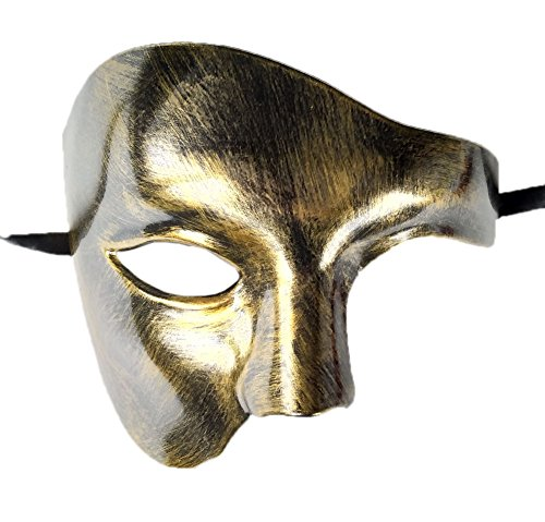 Flywife Mens Phantom of The Opera Masquerade Mask Half Face Vintage Roman Venetian Mask (Antique Gold)]()