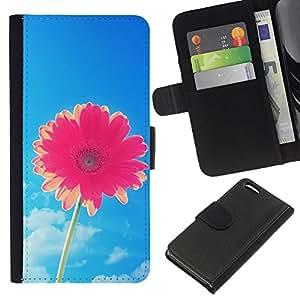 KingStore / Leather Etui en cuir / Apple Iphone 5C / Flor Blue Skies Pink Summer Sun