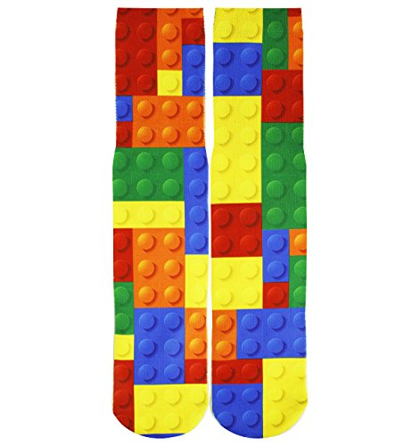 Unisex Crazy Fun Cool 3D Print Colorful Athletic Sport Novelty Crew Tube Socks (Lego)