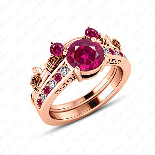 Gemstar Jewellery Brilliant Cut Red Ruby 18K Rose Gold Plated Mickey Mouse Wedding Bridal Ring Set