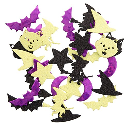 Nikki's Knick Knacks 90 Piece Glitter Foam Halloween Stickers- Flying Witches, Bats, Witch Hats, and More! -