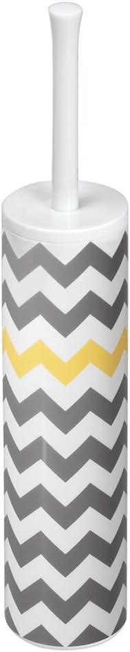 "iDesign Una BPA-Free Plastic Toilet Bowl Brush and Holder Set - 3"" x 3"" x 16.3"", Gray/White/Yellow"