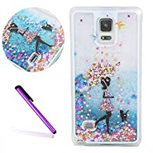 Samsung Galaxy Note 4 Case,LEECO Samsung Galaxy Note 4 Case Glitter Moving Flowing Liquid Floating Moving Hard Protective Case Cover for Samsung Galaxy Note 4 Blue Liquid-Umbrella girl