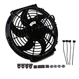 Demotor Universal High Performance Electric Radiator Cooling Fan With Fan Mounting Kit (10 Inch, Black)