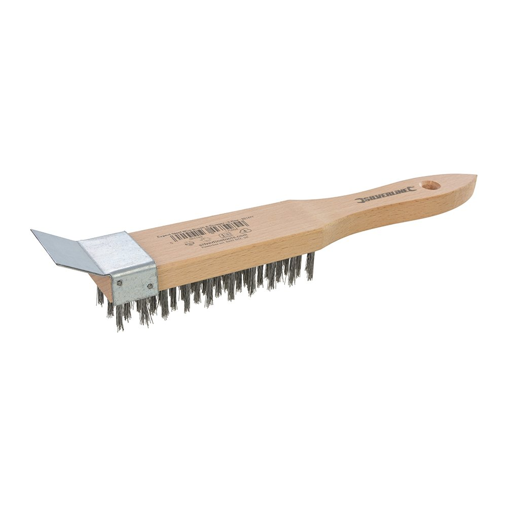 Silverline Tools 621477 6 Row Expert Crimped Steel Wire Brush and Scraper, Multi-Colour