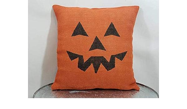 FARMHOUSE Accent Pillow Cover 18X18~Black with ORANGE Jack O/' Lantern Print~Pumpkin~Canvas Backed~Fall~Halloween~Autumn