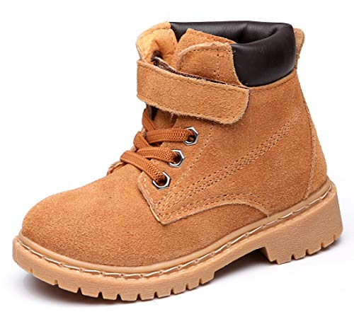 DADAWEN Boy's Girl's Classic Waterproof Leather Outdoor Strap Winter Boots (Toddler/Little Kid/Big Kid) - stylishcombatboots.com