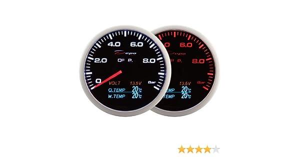 Medidor Depo Racing 4 en 1 de 60 mm, presión de aceite, revoluciones, temperatura del aceite y del agua, con bombillas LED.: Amazon.es: Coche y moto