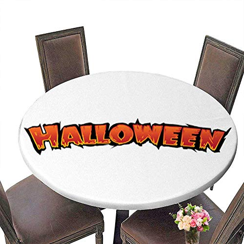 Polyester Round Tablecloth Table Cover,Happy Halloween Text Banner with bat Silhouette Vector Elements for Your Poste for Dining Room up to 39.5